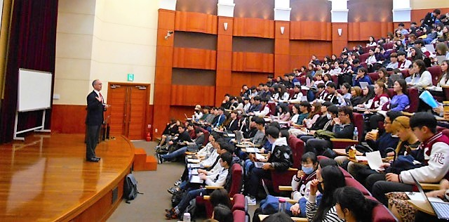Ned presenting to students at Korea University