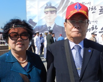 Mr. Son Kyu-Pyo, the President of the Korea Chapter of the 1st Marine Division Association, with his wife.