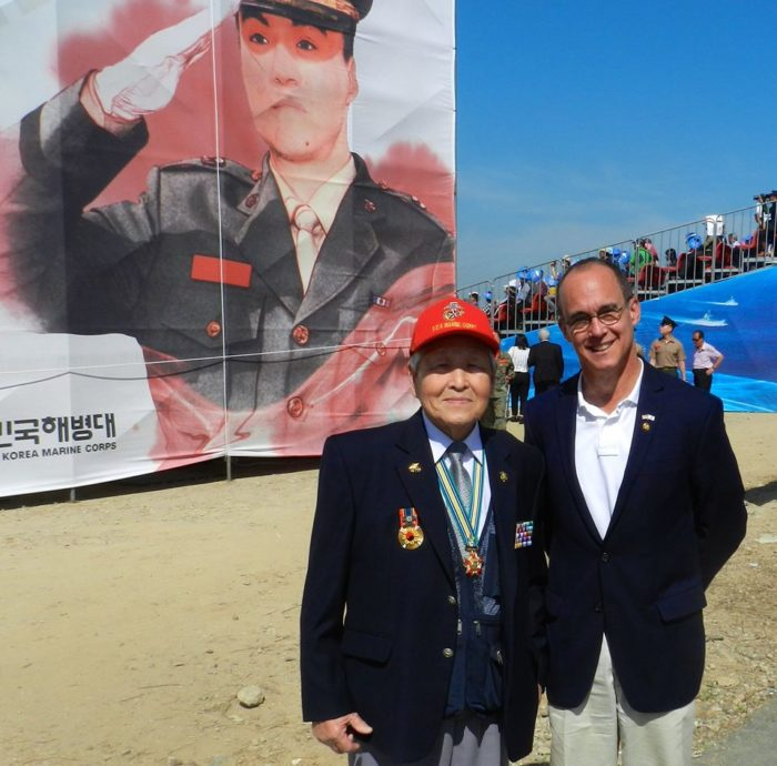 Ned with ROK Marine veteran at the Inchon Landing Ceremony, Sept. 2017,