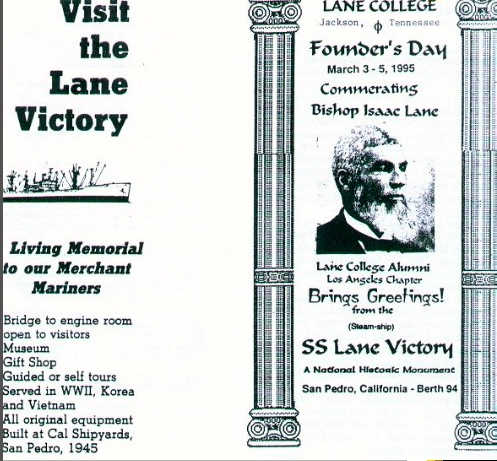 """A Lane College """"Founder's Day"""" pamphlet promoting the SS Lane Victory (Lane College website)"""