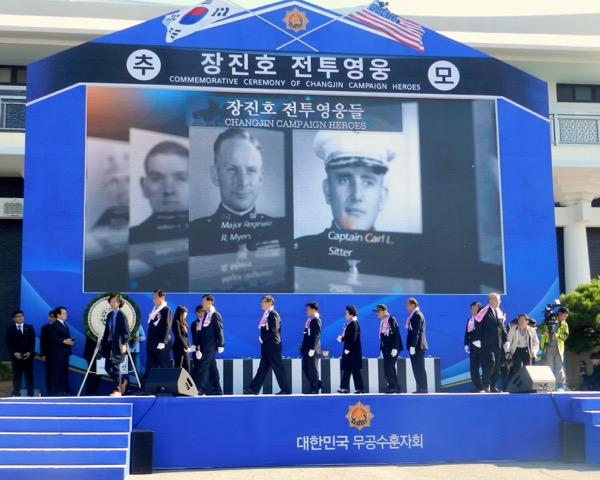 Honoring Chosin veterans-stage and ceremony