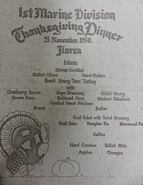 Thanksgiving menu from 1950