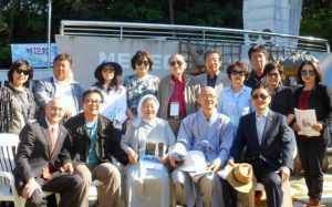 Ned with former Hungnam refugees at the Heungnam Memorial on Geoje Island 2017.