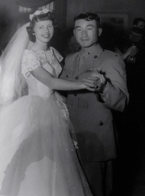 Jackie Ford dancing with Capt. Chang at her wedding.