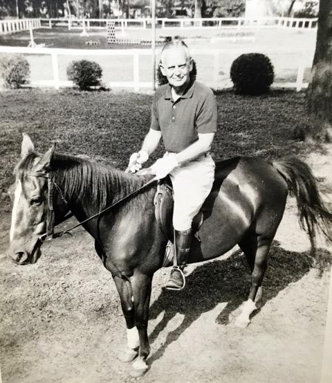 Forney, in his 50's, on horseback.