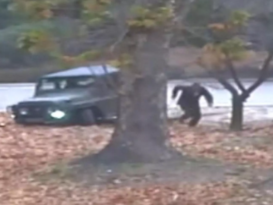 North Korean defector running across on the border on Nov. 13