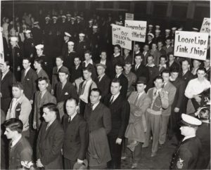 Men standing in line to enlist after Pearl Harbor