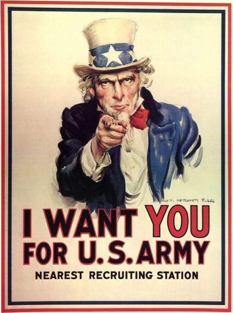 Uncle Sam recruitment poster from WWI and WWII