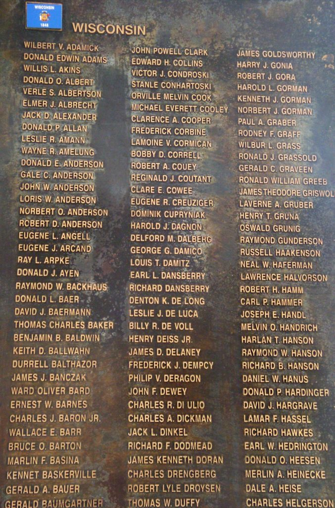 Names of fallen serviceman are listed by state (Photo courtesy of Ned Forney).