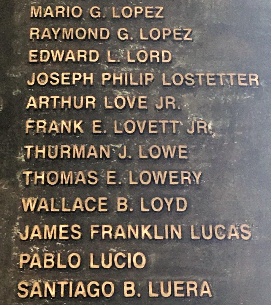War Memorial of Korea- names of fallen UN solders